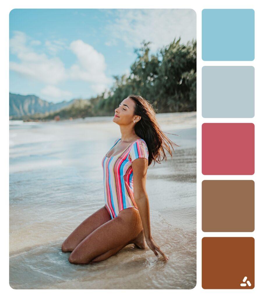a girl in summer beach