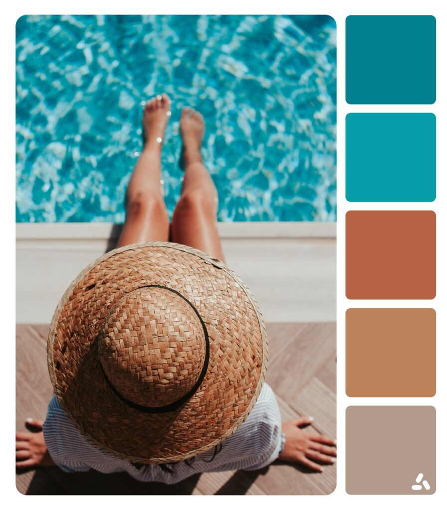 a girl with hat in  pool