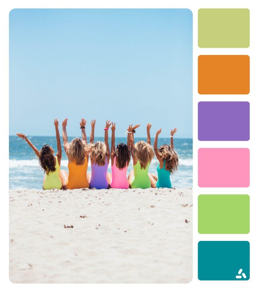 girls in the summer beach
