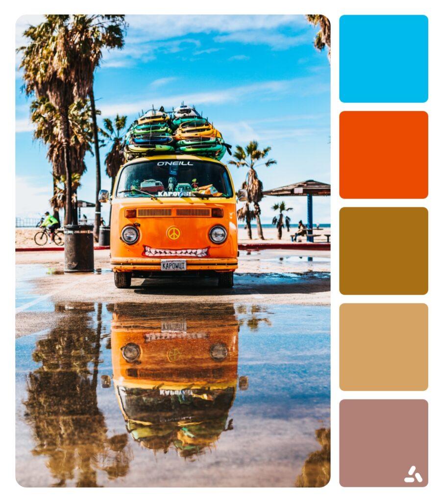 a van by the beach