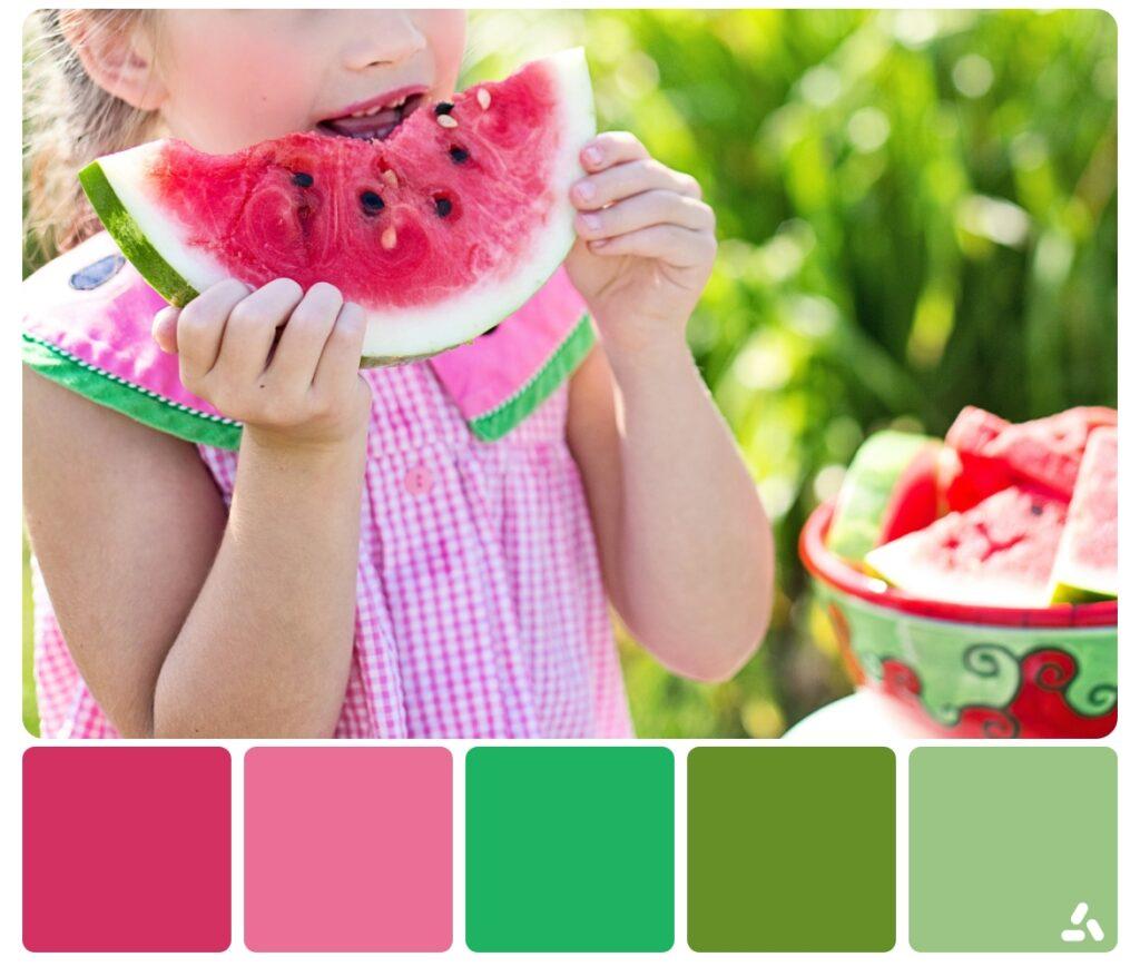 a girl eat watermelon