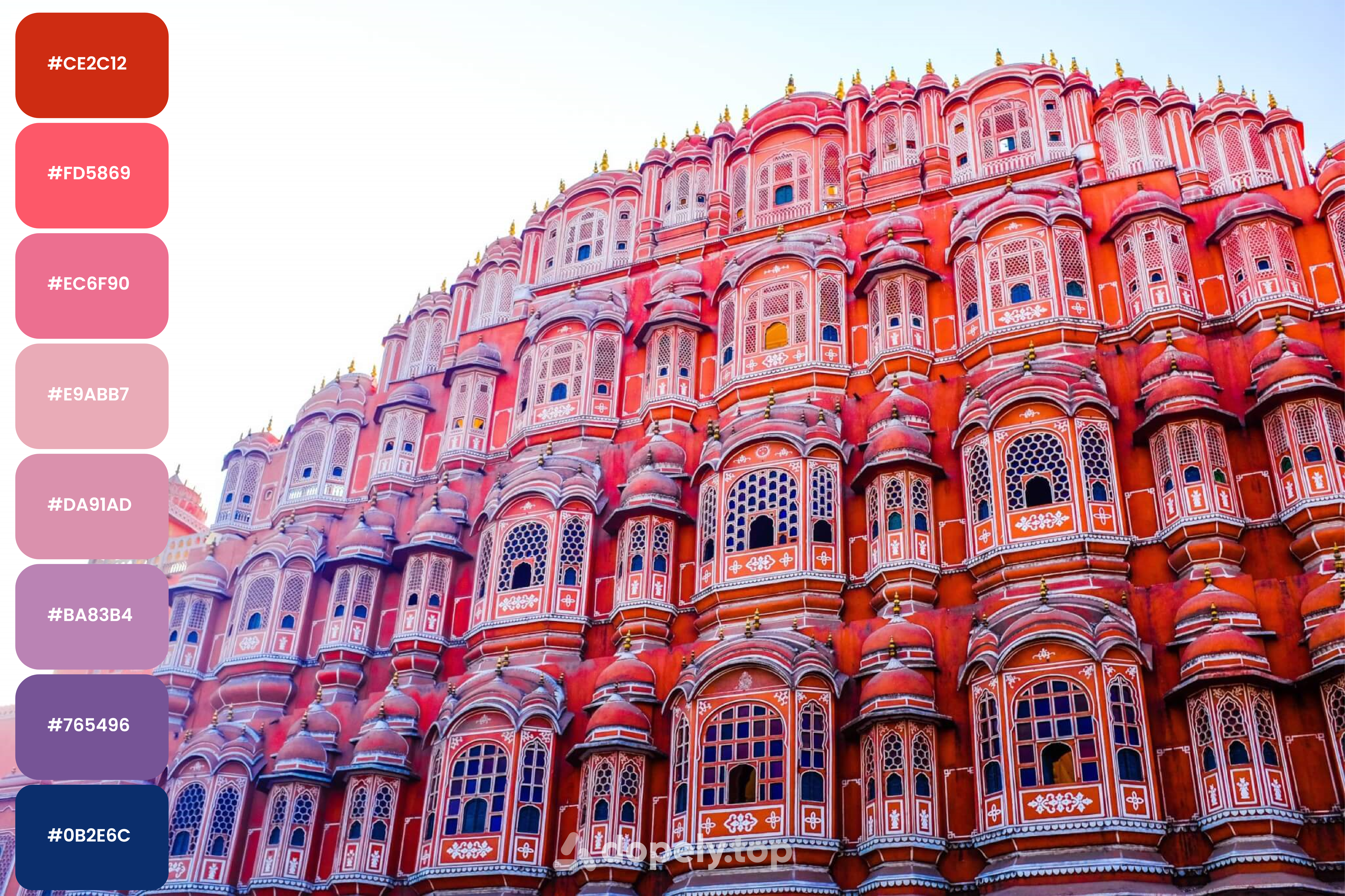 Jaipur, the Pink city, one of the Colorful Cities in India. color palette by Dopely