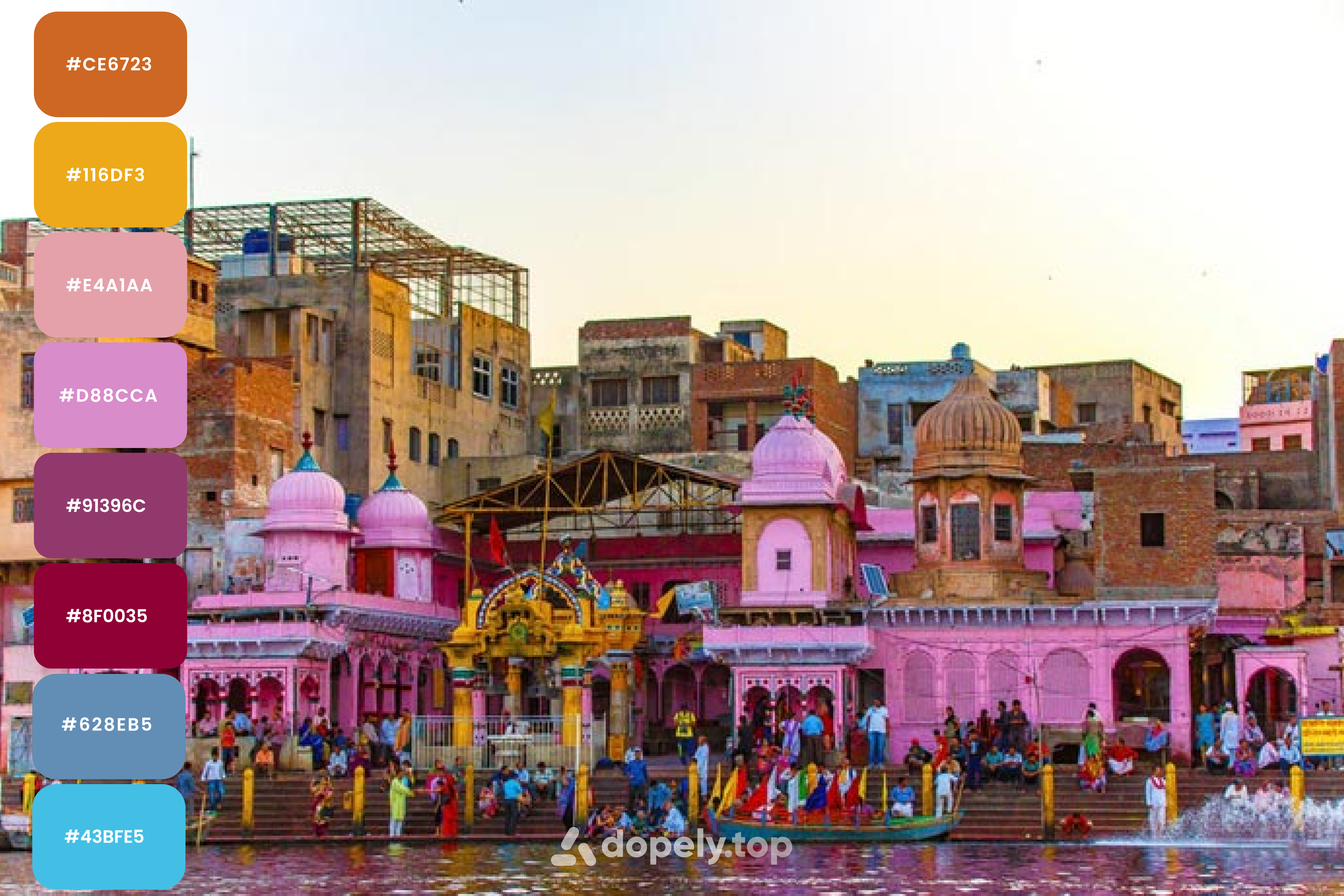 Vrindavan one of the most colorful cities in India, color palette by Dopely