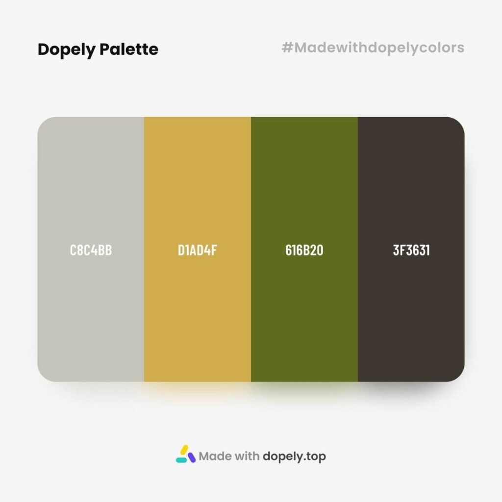 Color palette inspiration with Quill Grey(C8C4BB) + Apache(D1AD4F) + Fiji Green(616B20) + Kilamanjaro(3F3631) by dopely colors