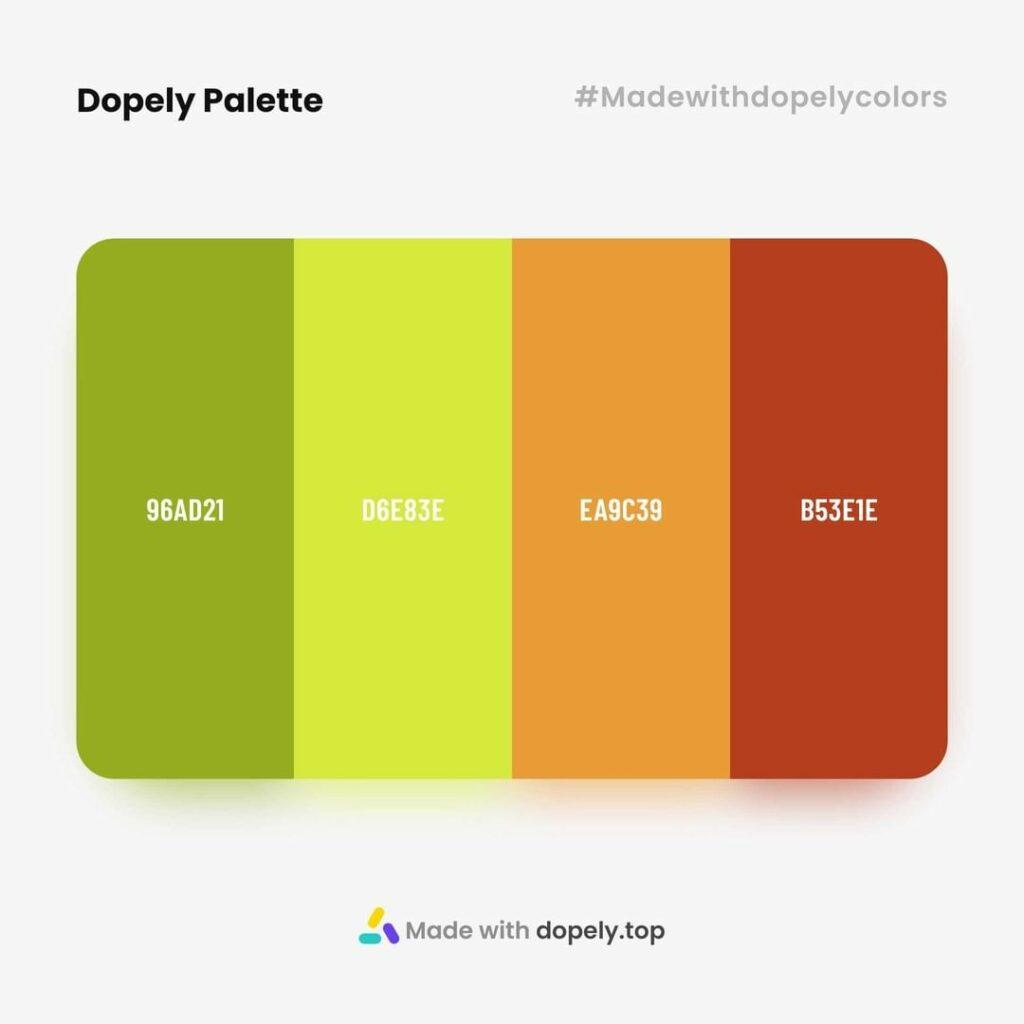 color palette inspiration made by dopely.top with 96AD21, D6E83E, EA9C39, B53E1E