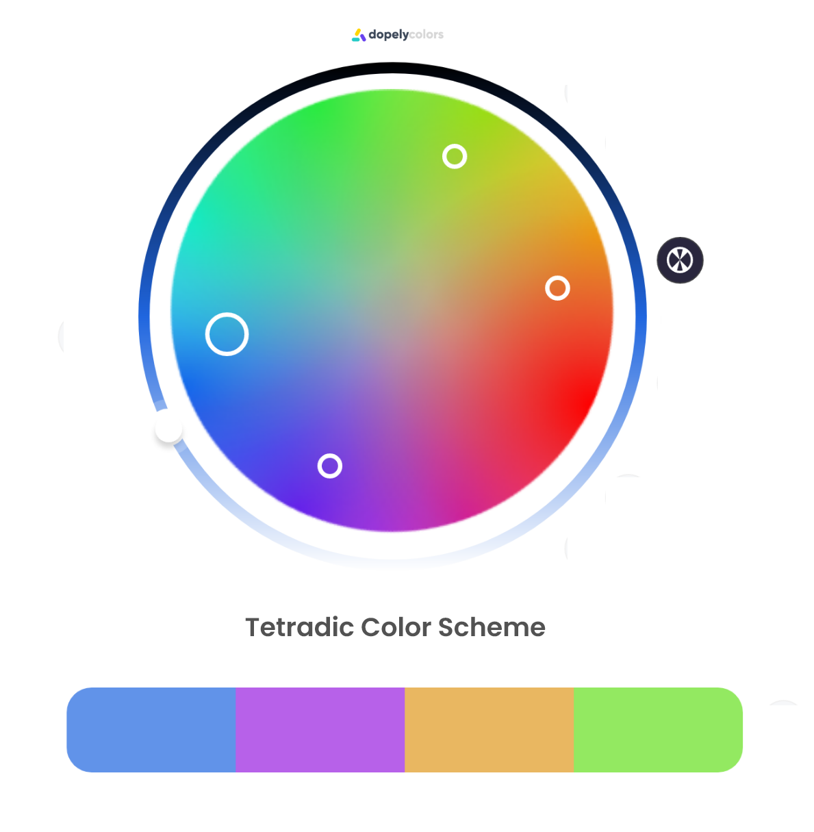 A Tetradic color scheme should be composed of two sets of complementary colors. they are vibrant and contrasted while having some harmonies.