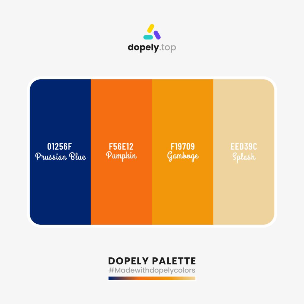 Color palette inspiration with: Prussian Blue (01256F) + Pumpkin (F56E12) + Gamboge (F19709) + Splash (EED39C)