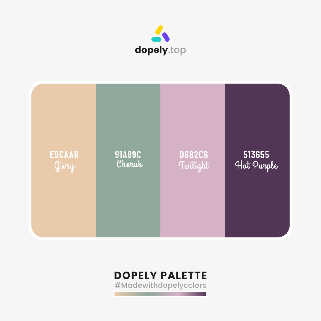 Color palette inspiration with: Givry (E9caab) + Cherub (91A89C) + Twilight (d6b2c6) + Hot Purple (513655)