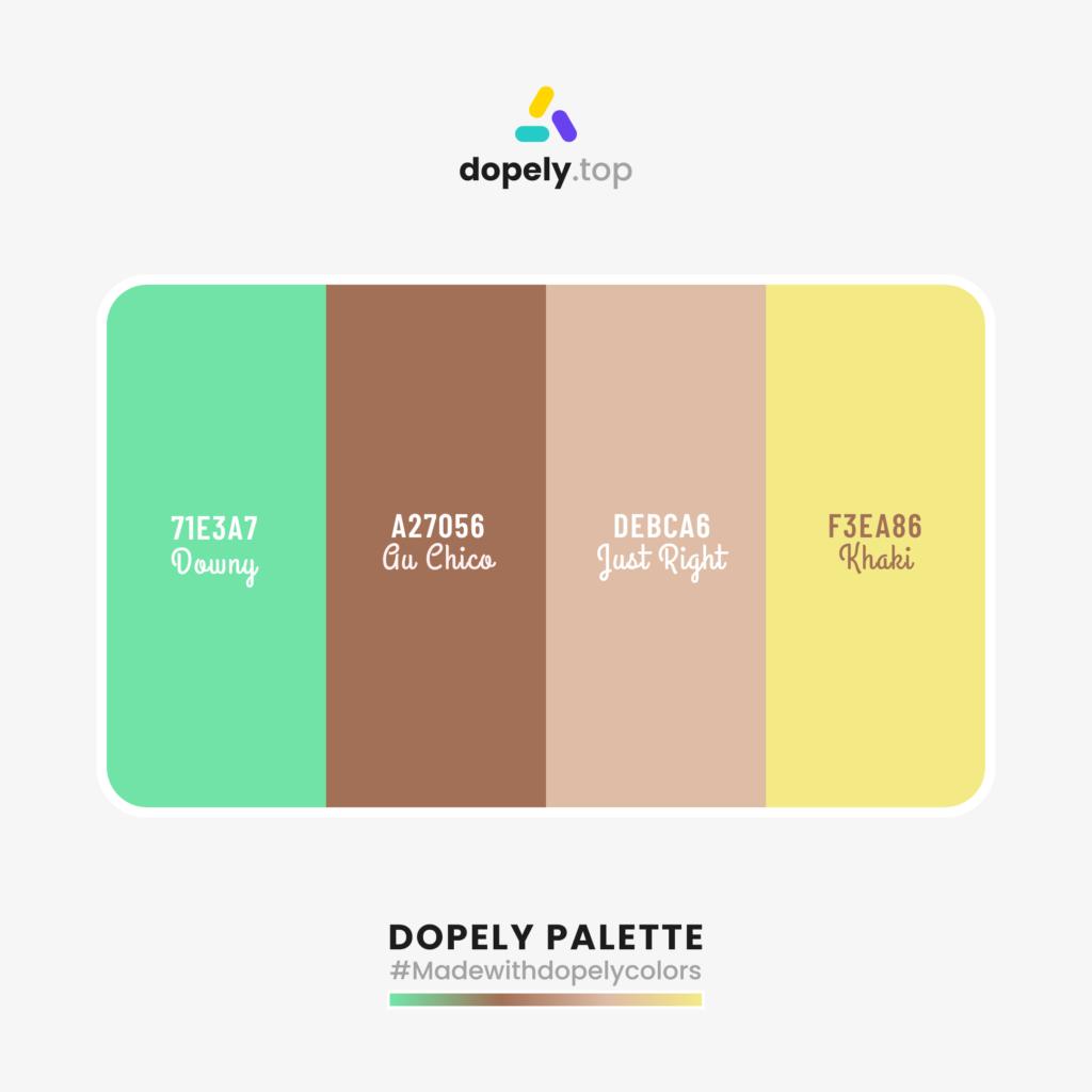 Color palette with: Downy (71E3A7) + Gu Chico (A27056) + Just Right (DEBCA6) + Khaki (F3EA86)
