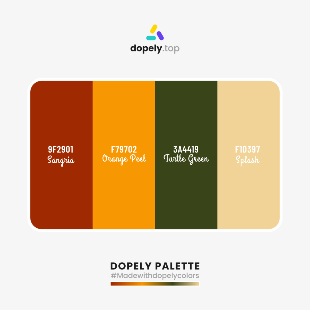 Color palette  with: Sangria (9F2901) + Orange Peel (F79702) + Turtle Green (3A4419) + Splash (F1D397)