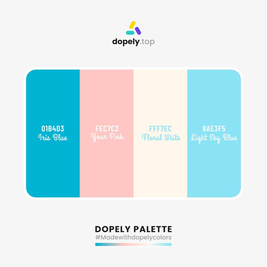 Color scheme inspiration with: Iris Blue (01B4D3) + Your Pink (FEC7C3) + Floral White (FFF7EC) + Sight Sky Blue (8AE3F5)