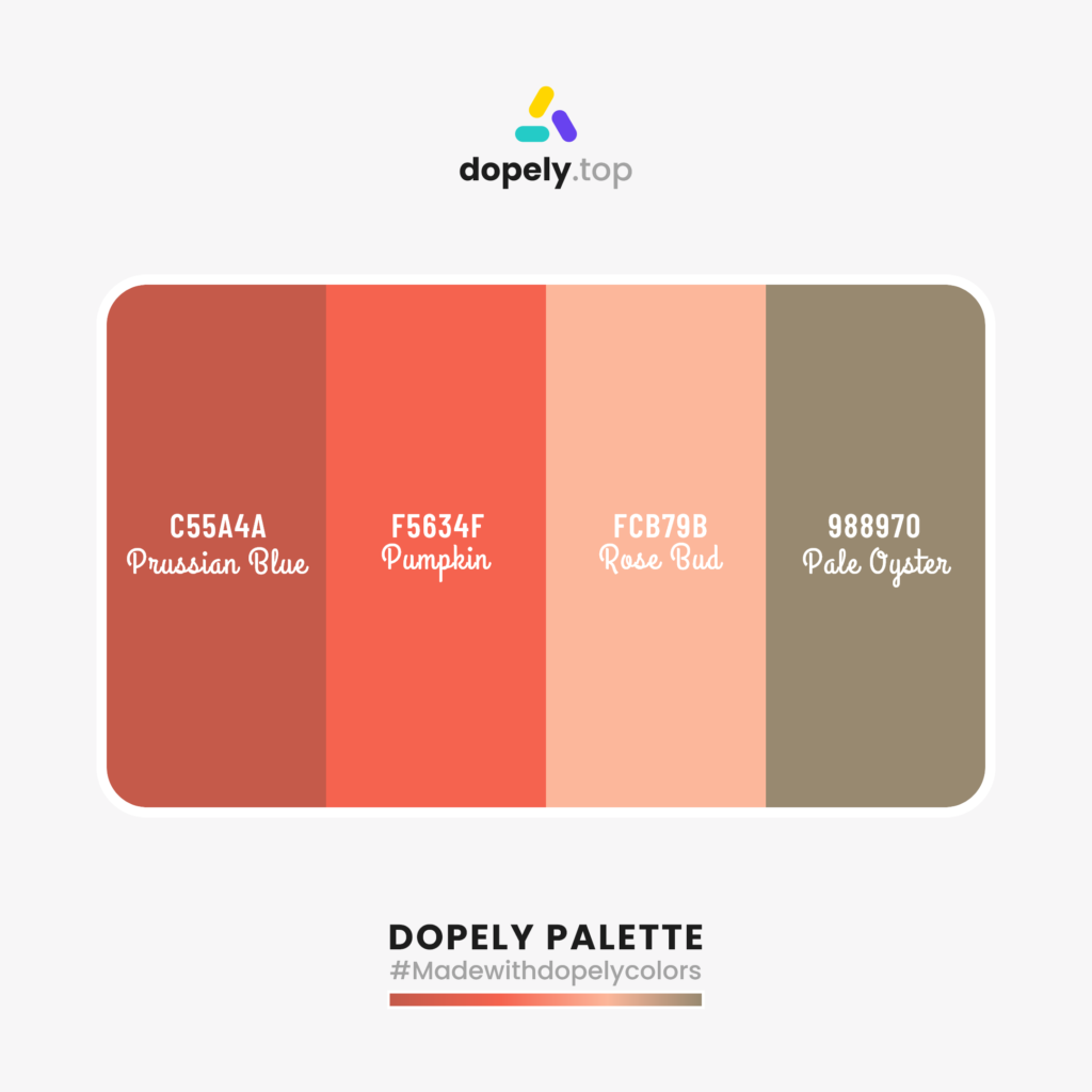Color palette inspiration with: Prussian Blue (C55A4A) + Pumpkin (F5634F) + Rose Bud (FCB79B) + Pale Oyster (988970)
