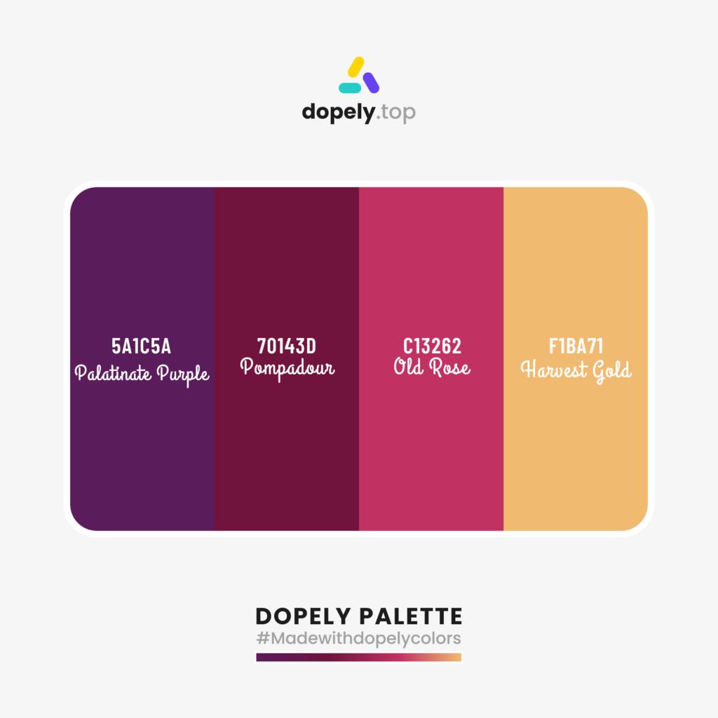 Color palette with: Palatinate Purple (5A1C5A) + Pompadour (70143D) + Old Rose (C13262) + Harvest Gold (F1BA71)