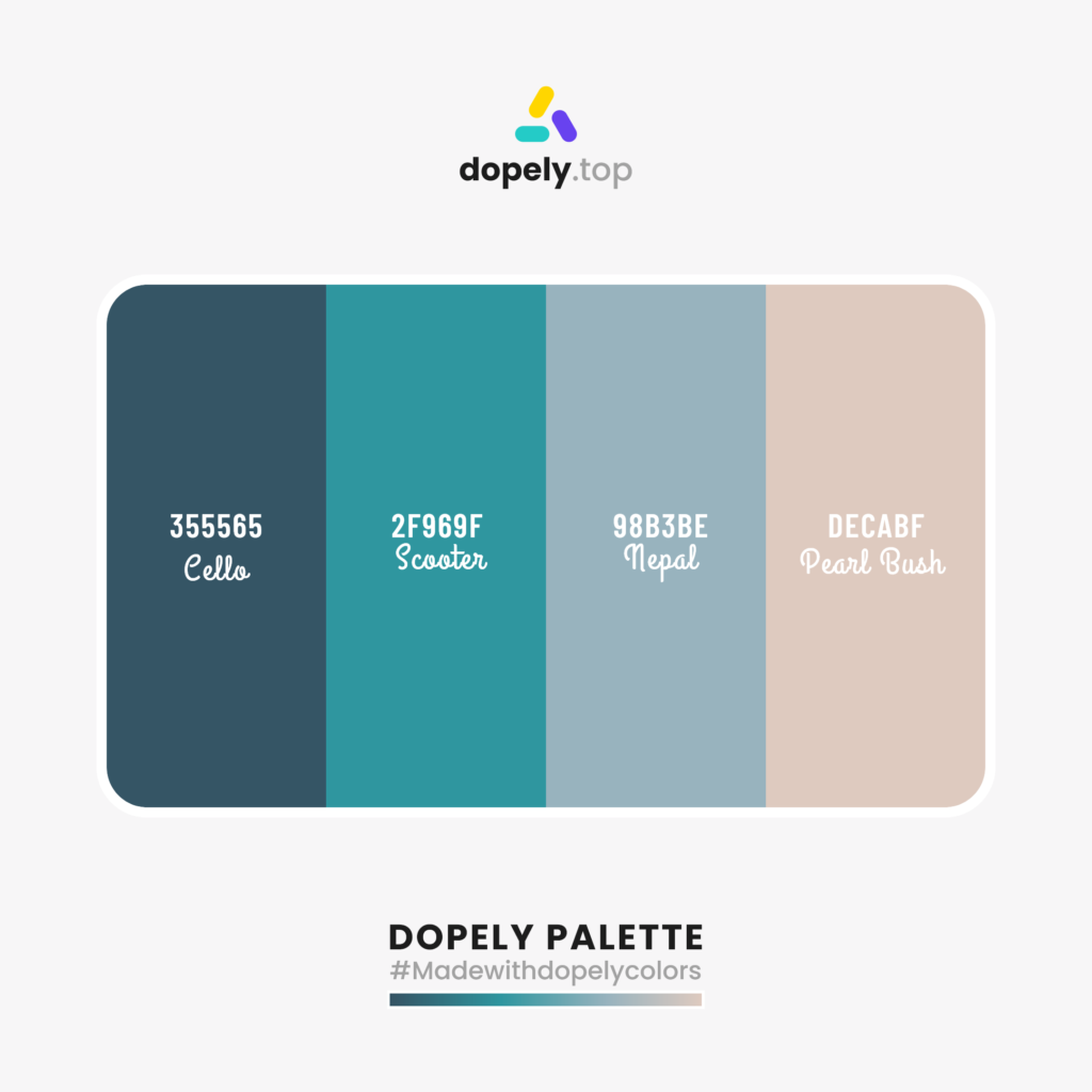 Color palette inspiration with: Cello (355565) + Scooter (2F969F) + Nepal (98B3BE) + Pearl Bush (DECABF)