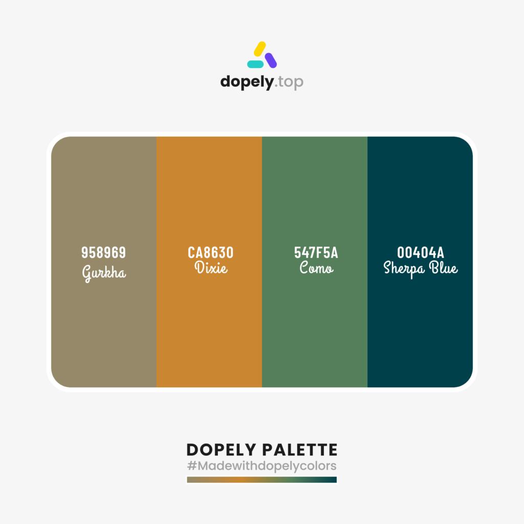 Color palette with: Gurkha (958969) + Dixie (CA8630) + Como (547F5A) + Sherpa Blue (00404A)