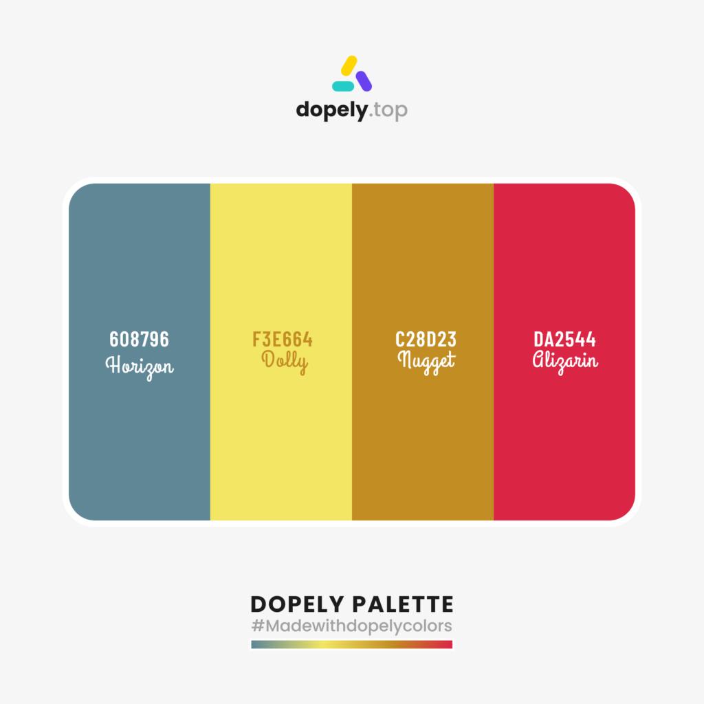 Color palette inspiration with: Horigon (608796) + Dolly (F3E664) + Nugget (C28D23) + Gligarin (DA2544)