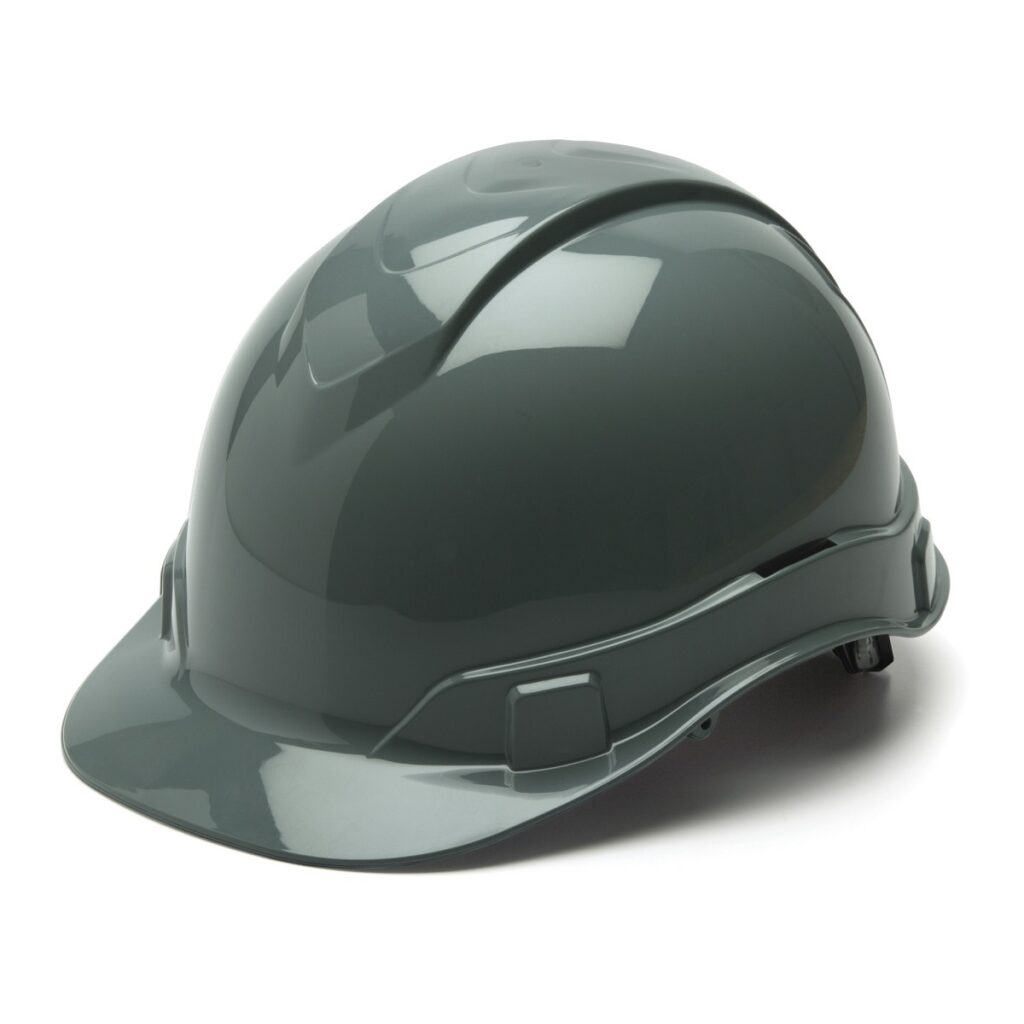 gray hard hats