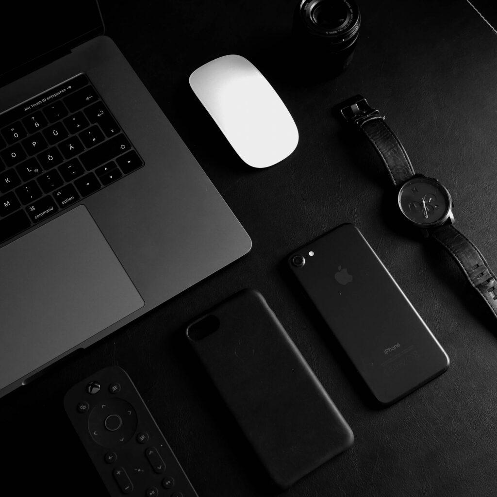 black desk and I phone
