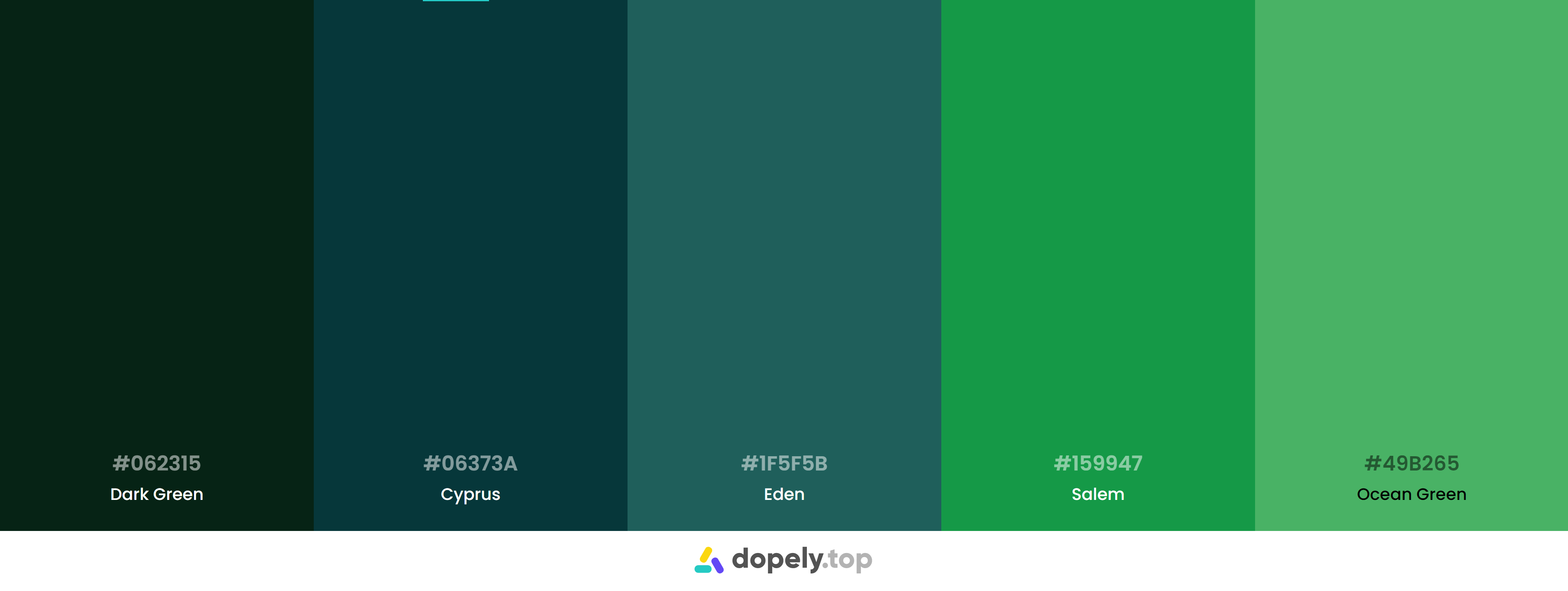 Green Color Palette Inspirations with Names & hex Codes