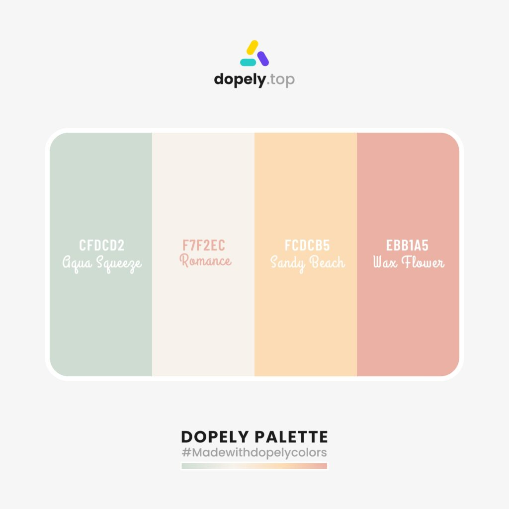 Color palette inspiration with: Aqua Squeeze (CFDCD2) + Romance (F7F2EC) + Sandy Beach (FCDCB5) + Wax Flower (EBB1A5) by dopely colors