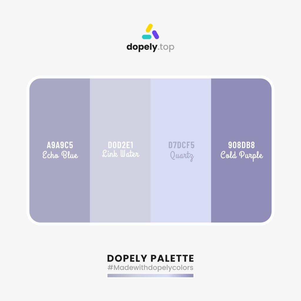 color paette idea with:  Echo Blue (A9A9C5) + Link Water (D0D2E1) + Quartz (D7DCF5) + Cold Purple (908DB8)