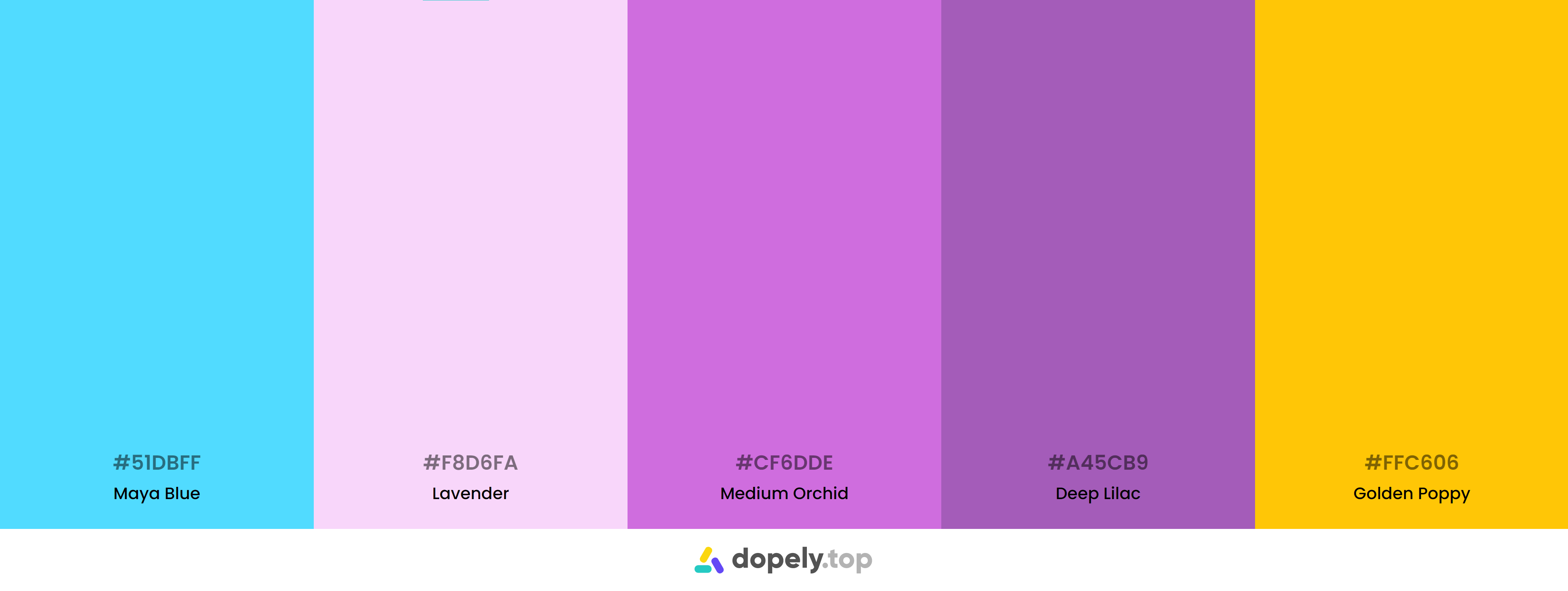 Purple Color Palette Inspirations with Names & hex Codes