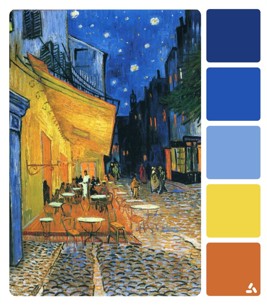 Van Gogh Cafe Terrace At Night painting with color palette which has yellow, dark and light blue and orange colors