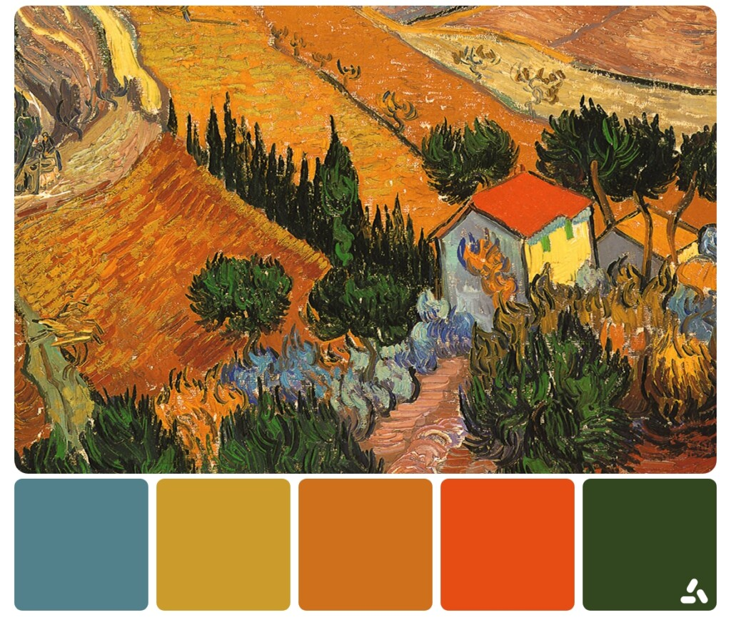 Van Gogh Landscape With House painting with color palette which has blue, yellow, light orange, dark orange and green color