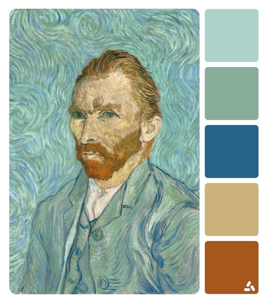 Van Gogh Self-portrait painting with color palette which has light and dark blue and cream colors