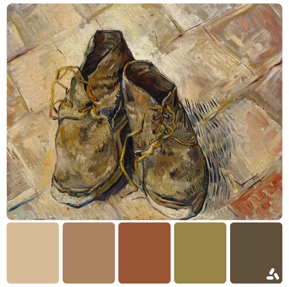 Van Gogh Shoes painting with color palette which has gray, cream and  brown colors