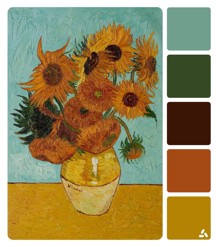 Van Gogh Sunflowers painting with color palette which has blue, green, yellow and dark red colors