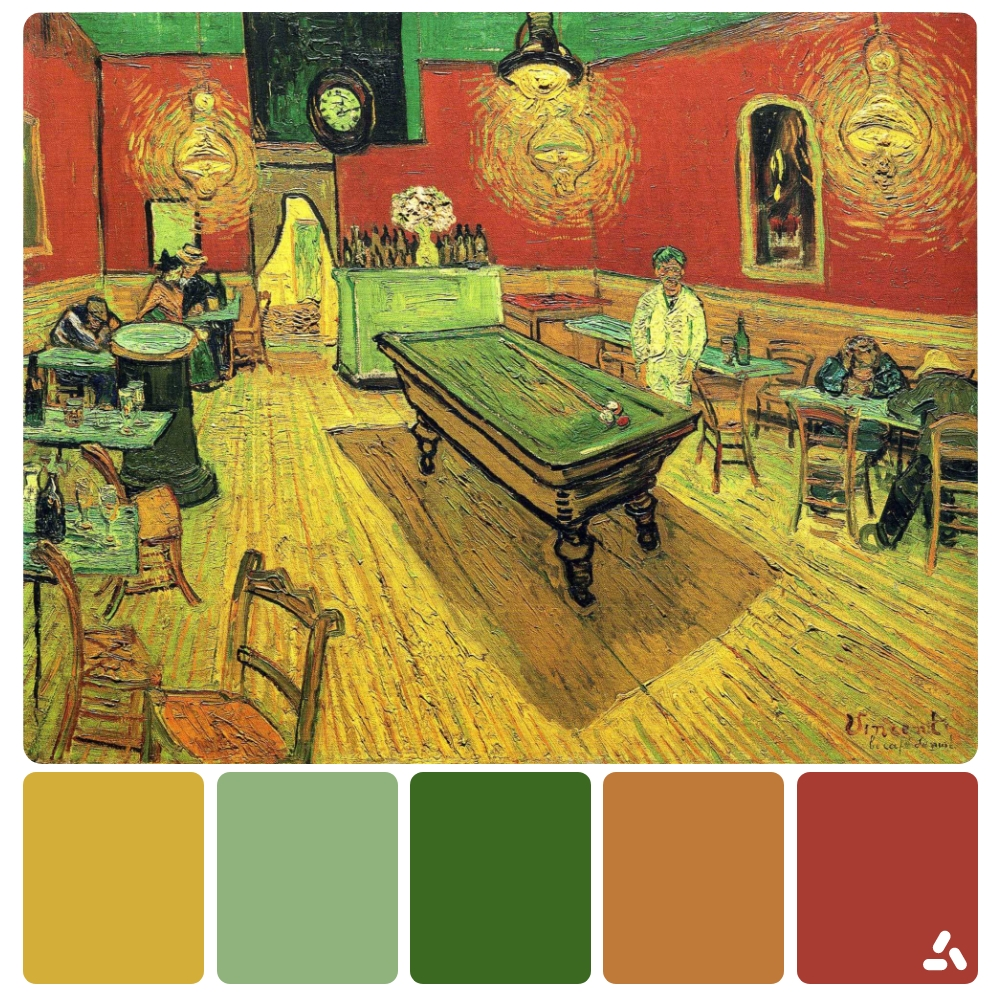 Van Gogh The Night Cafe painting with color palette which has yellow, blue, green, orange and red colors