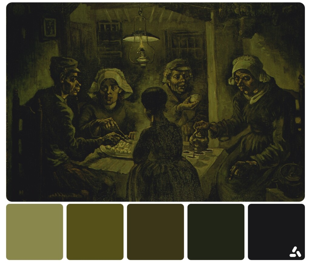 Van Gogh The Potato Eaters painting with color palette which has dark colors like black, gray and olive green colors