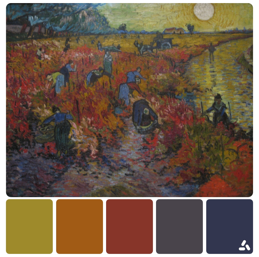 Van Gogh The Red Vineyard painting with color palette which has dark blue, dark red, orange and yellow colors