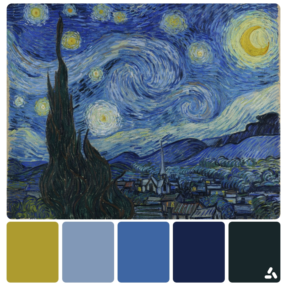 Van Gogh The Starry Night painting with color palette which has navy, dark blue, light blue and yellow colors