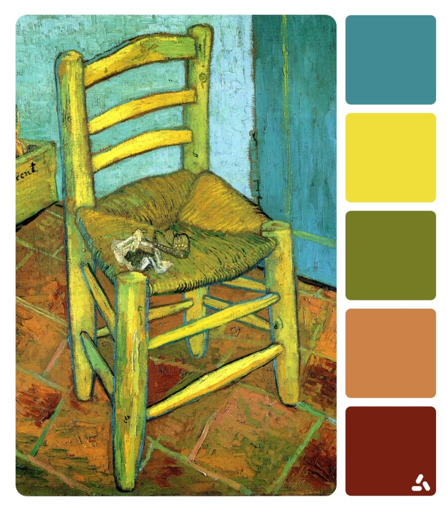 Van Gogh's Chair painting with color palette which has blue, yellow, green, redv and light pink colors