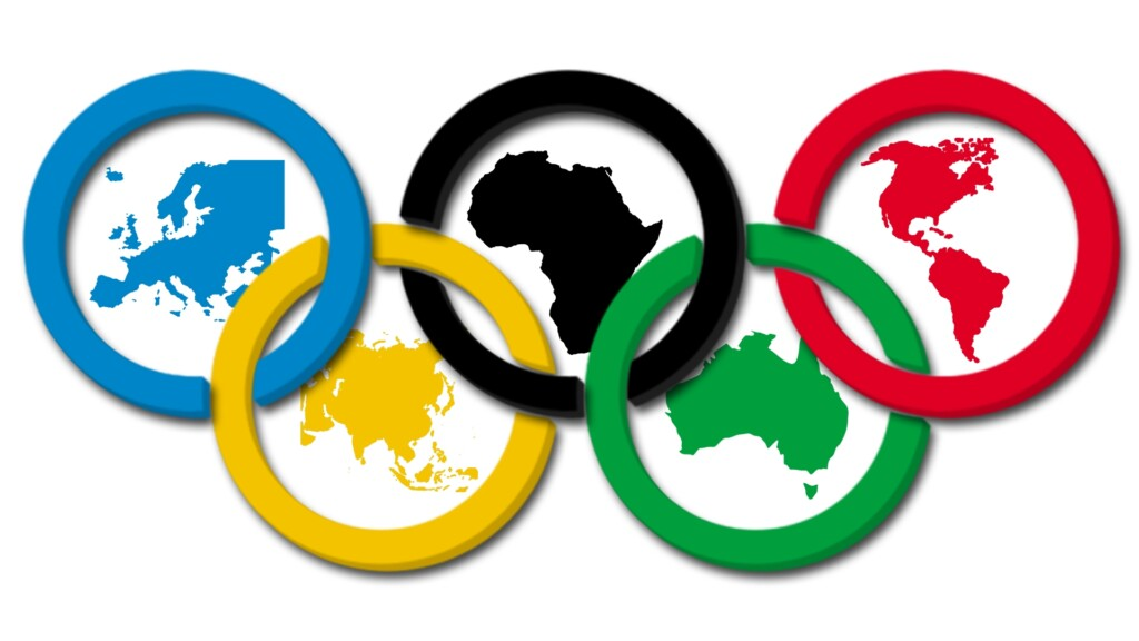 The colors of these rings each symbolize one of the continents. blue for Oceania, yellow for Asia, black for Africa, green for Europe and red for America.