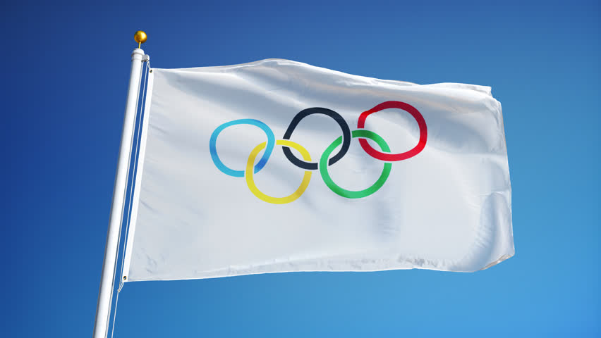 Olympic flag color with a white background and five colored rings raised.