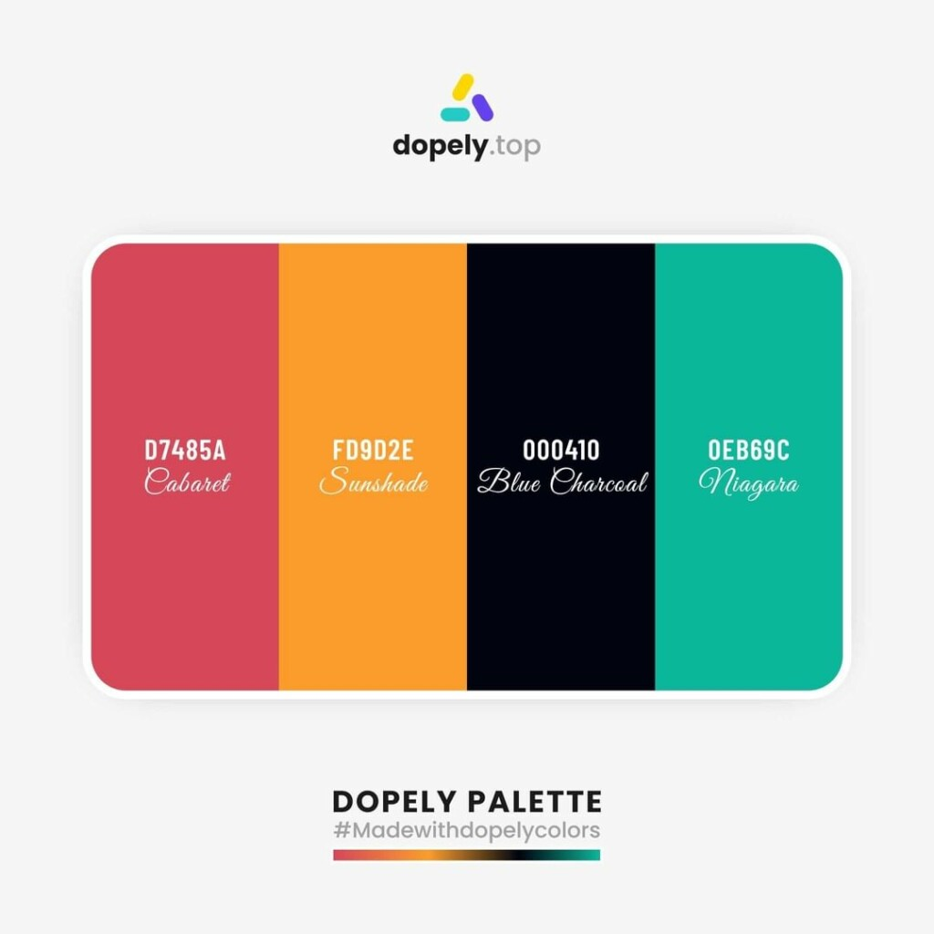 color palette inspiration by Dopely color palette generator Valencia (D7485A) + Neon Carrot (FD9D2E) + Dark Green (000410) + Mountain Meadow (0EB69C)
