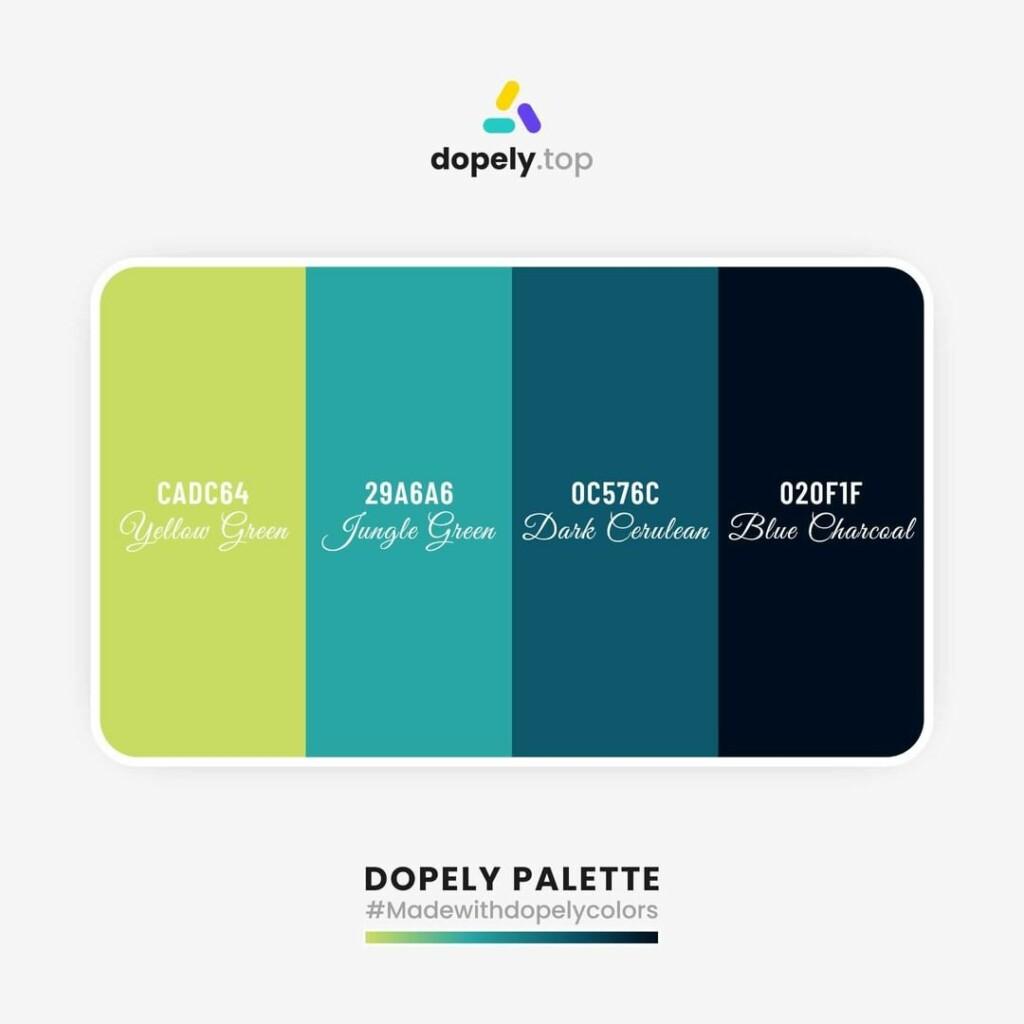 color palette inspiration Goldenrod (CADC64) + Java (29A6A6) + Dark Cerulean (0C576C) + Dark Green (020F1F)