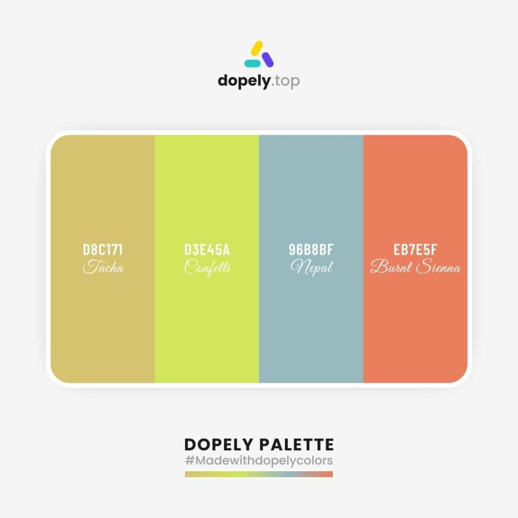 color palette inspiration  Chenin (D8C171) + Manz (D3E45A) + Nepal (96B8BF) + Burnt Sienna (EB7E5F)