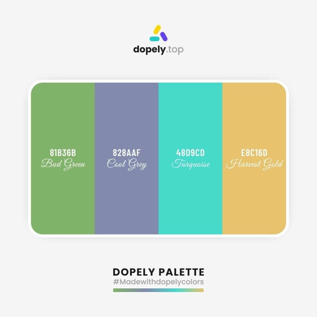 color palette inspiration Chelsea Cucumber (81B36B) + Ship Cove (828AAF) + Medium Turquoise (48D9CD) + Harvest Gold (E8C16D)