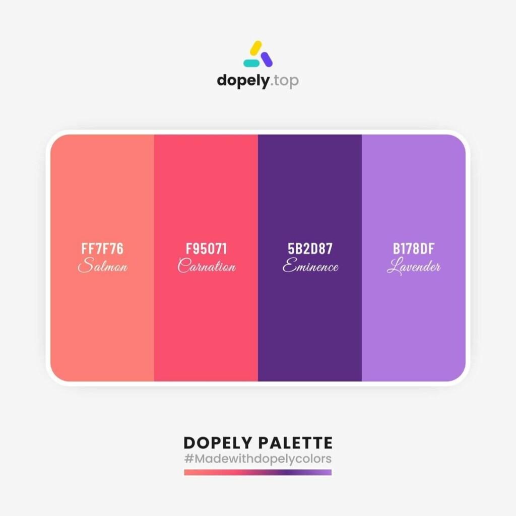 color scheme Salmon (FF7F76) + Wild Watermelon (F95071) + Kingfisher Daisy (5B2D87) + Medium Purple (B178DF)