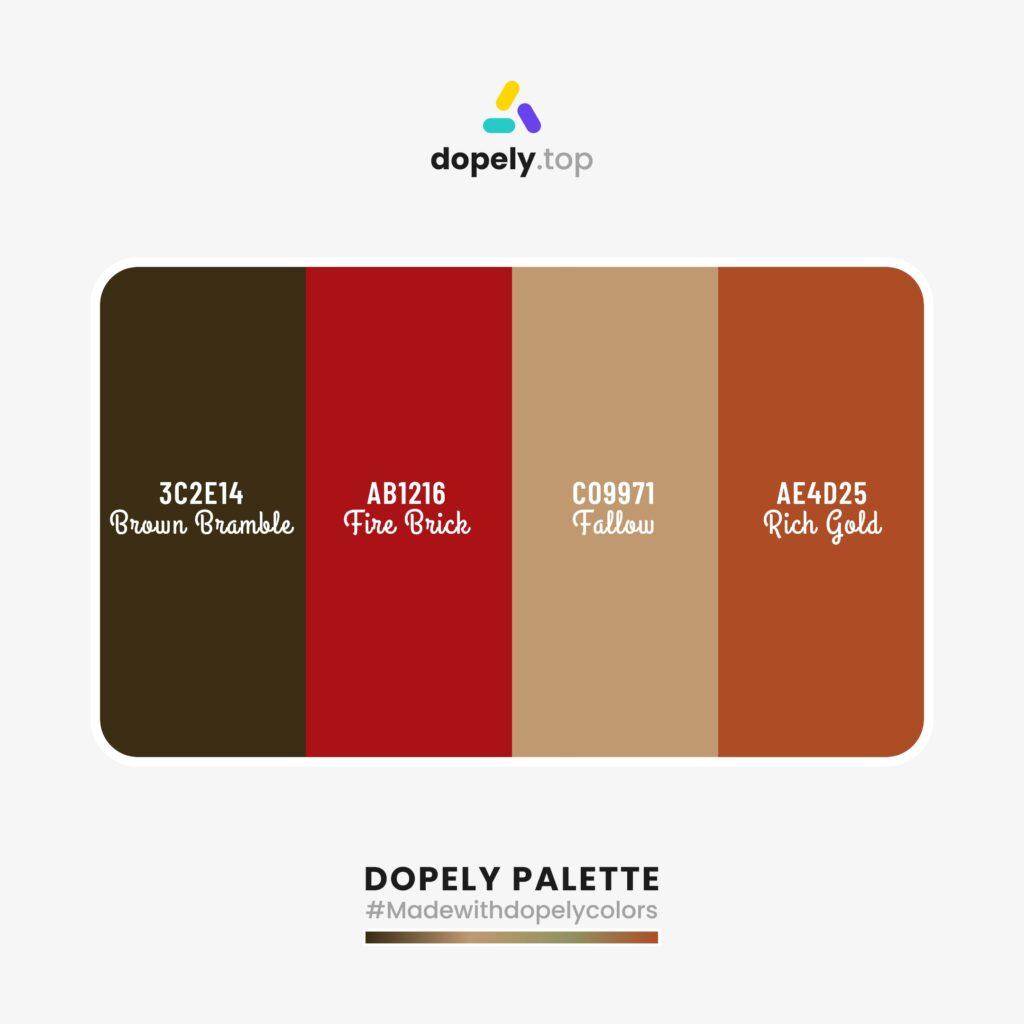 color palette inspiration Brown Bramble (3C2E14) + Fire Brick (AB1216) + Fallow (C09971) + Rich Gold (AE4D25)