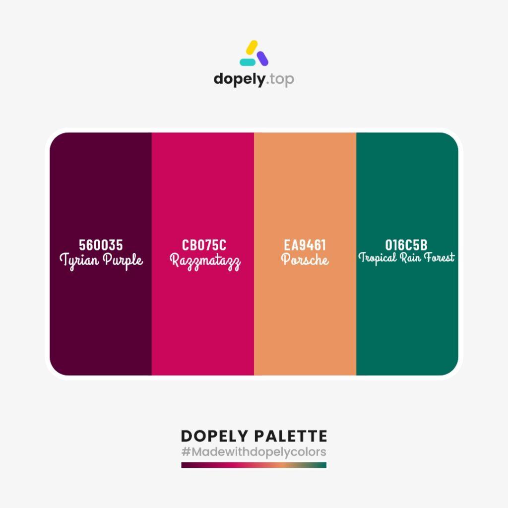 color palette inspiration Tyrian Purple (560035) + Razzmatazz (CB075C) + Porsche (EA9461) + Tropical Rain Forest (016C5B)