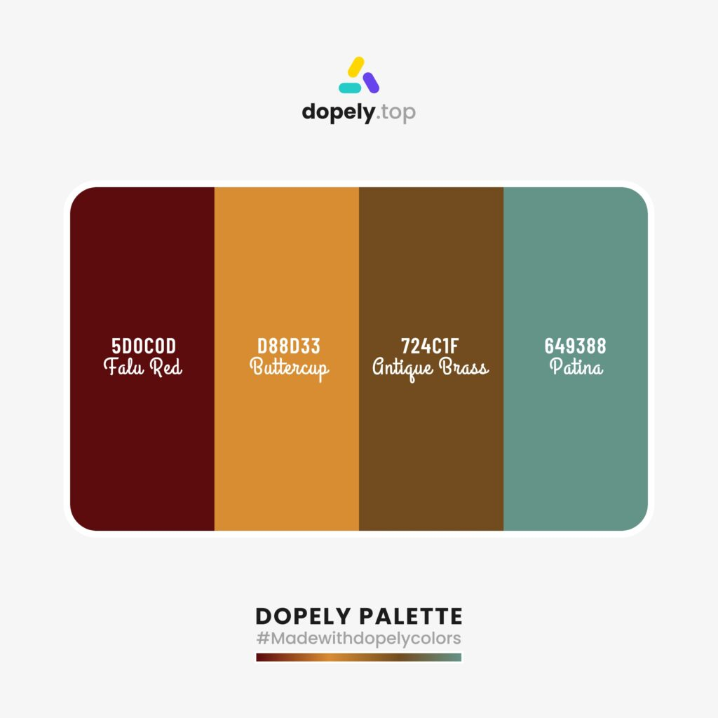 color palette inspiration Falu Red (5D0C0D) + Buttercup (D88D33) + Antique Brass (724C1F) + Patina (649388)
