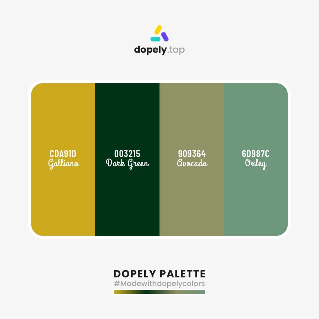 color palette inspiration Galliano (CDA91D) + Dark Green (003215) + Avocado (909364) + Oxley (6D987C)