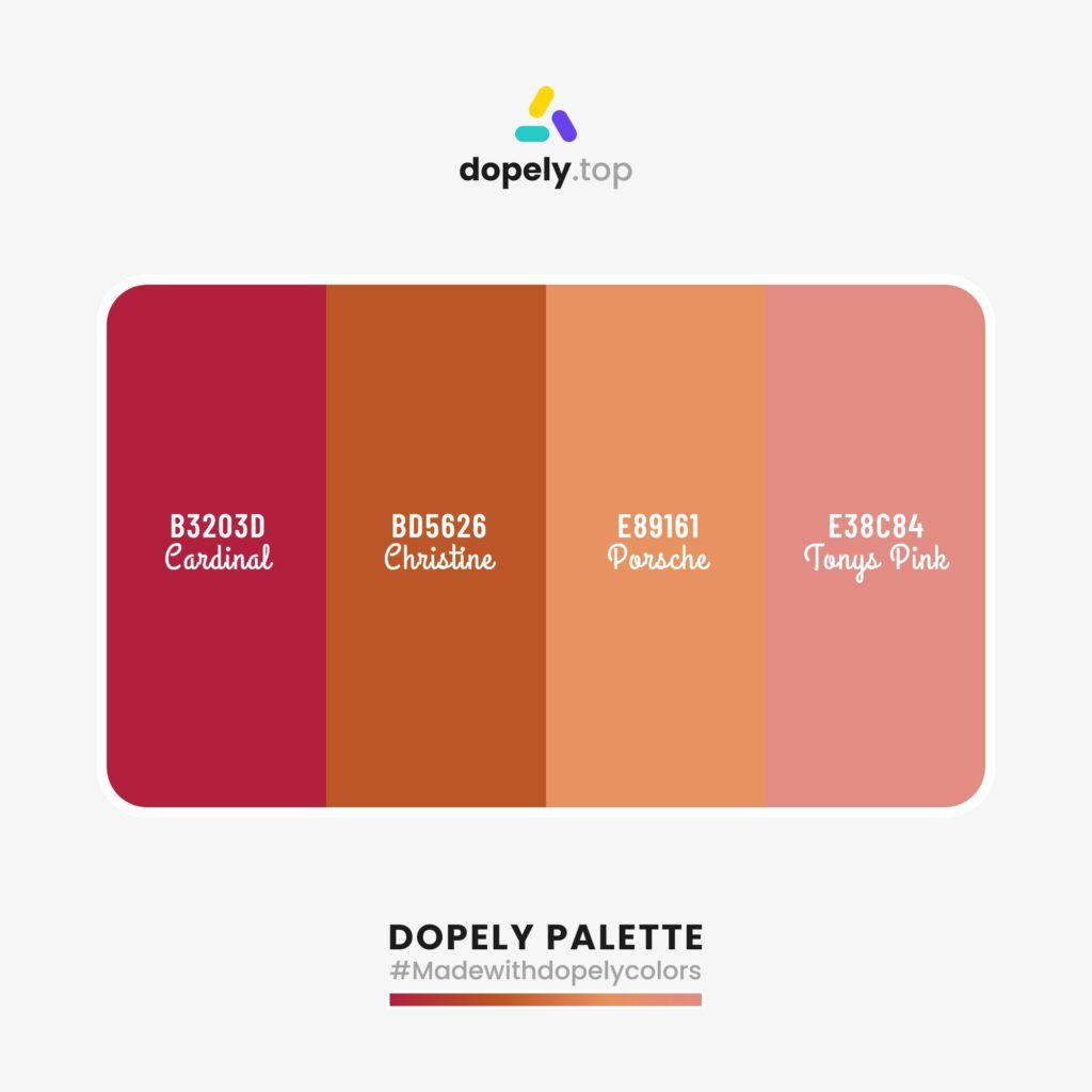 color palette Cardinal (B3203D) + Christine (BD5626) + Porsche (E89161) + Tonys Pink (E38C84)