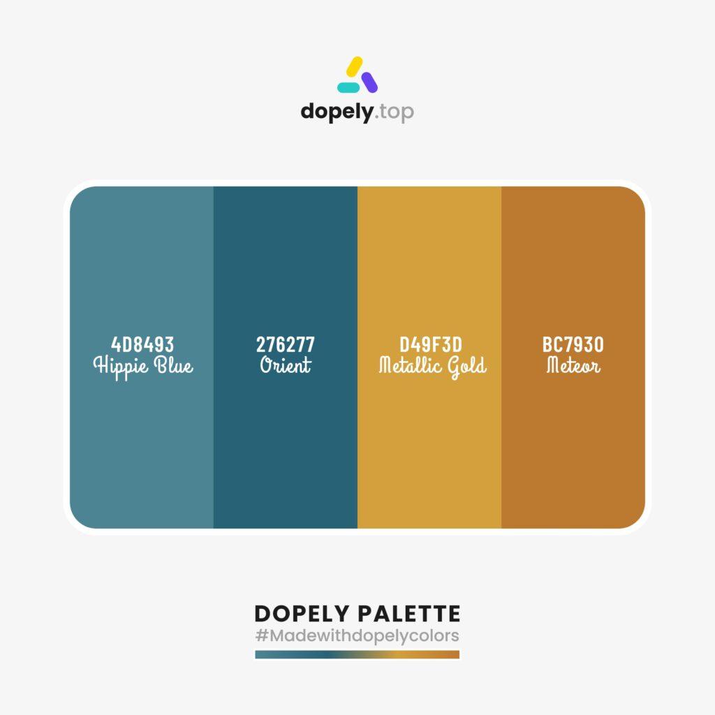 color palette Hippie Blue (4D8493) + Orient (276277) + Metallic Gold (D49F3D) + Meteor (BC7930)