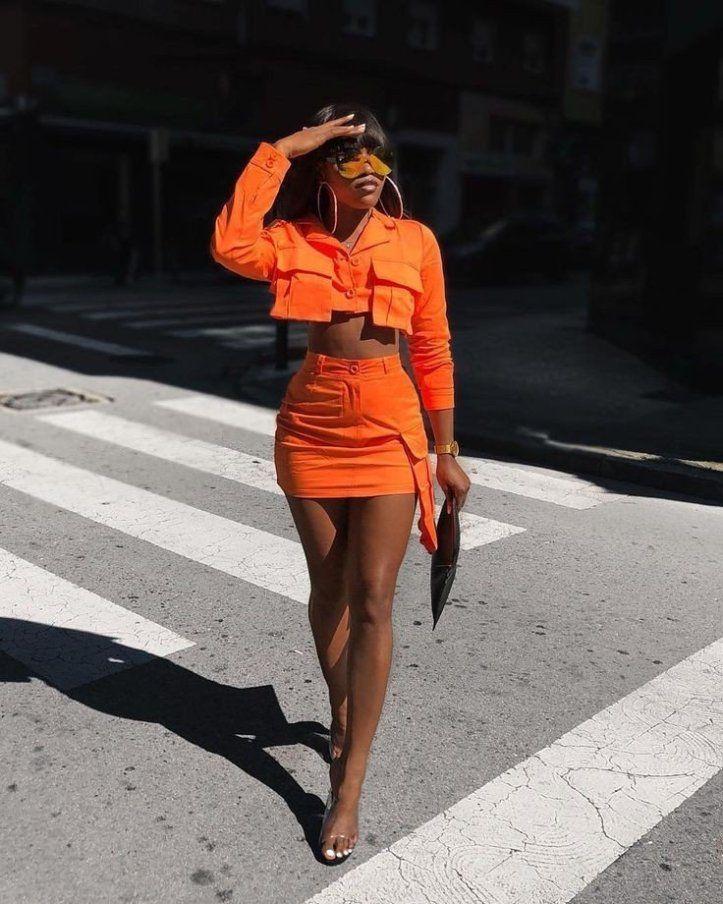black girl in orange style